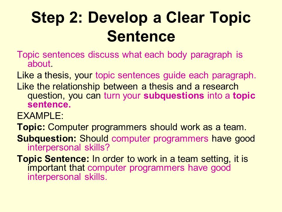 Step 2: Develop a Clear Topic Sentence