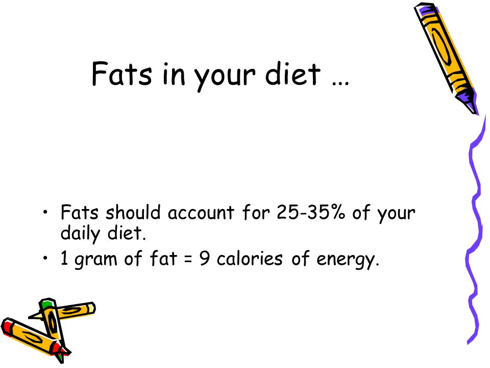 Fats in your diet … Fats should account for 25-35% of your daily diet.
