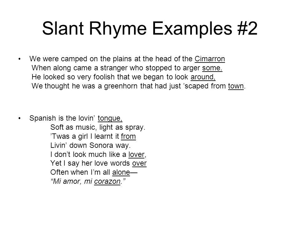 Slant Rhyme Examples #2