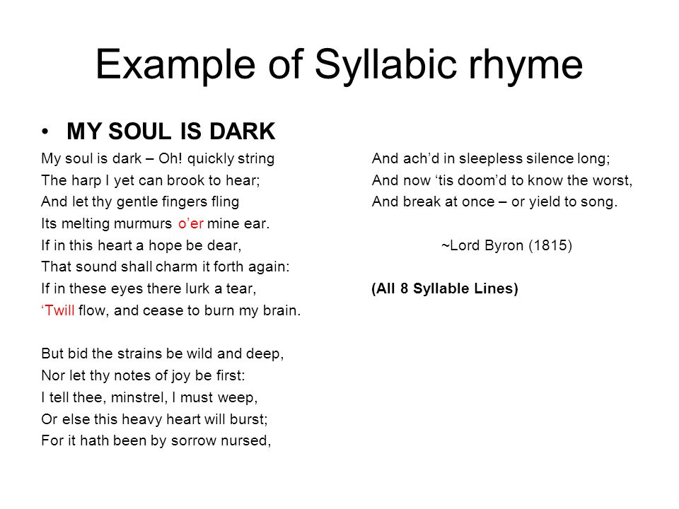 Example of Syllabic rhyme