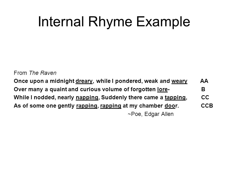 Internal Rhyme Example