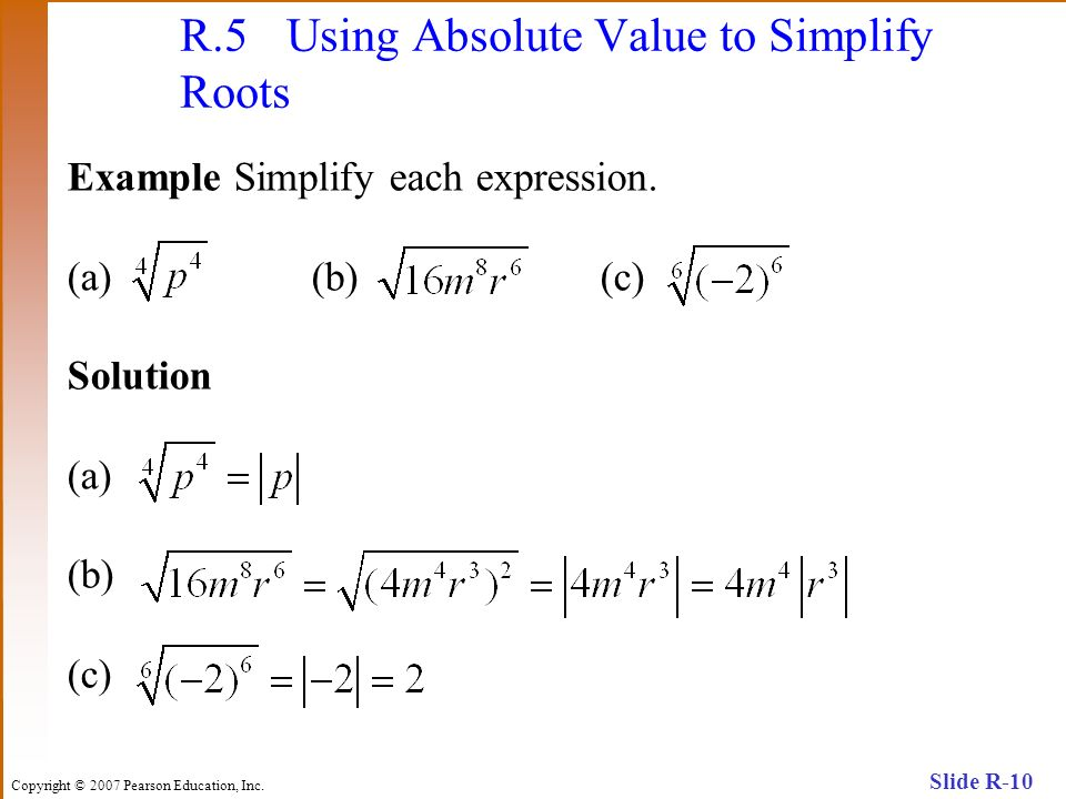 R.5 Using Absolute Value to Simplify Roots