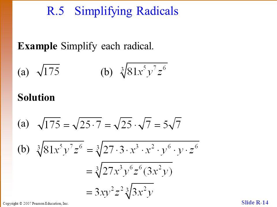 R.5 Simplifying Radicals
