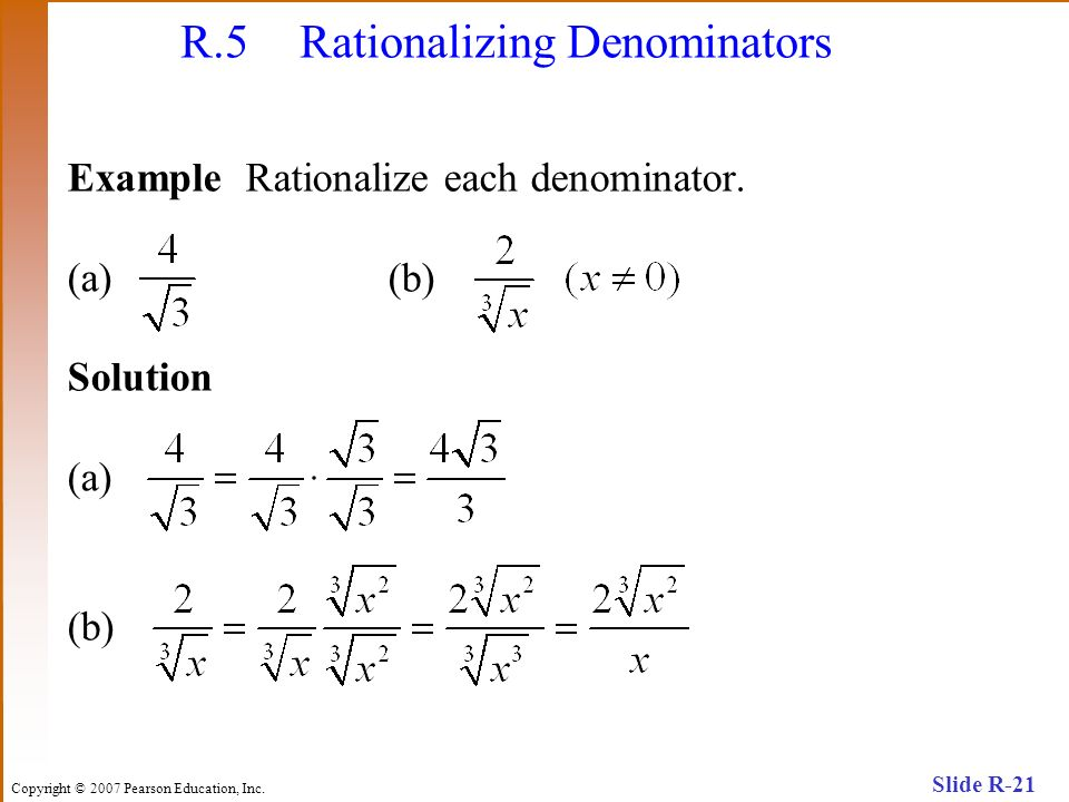 R.5 Rationalizing Denominators