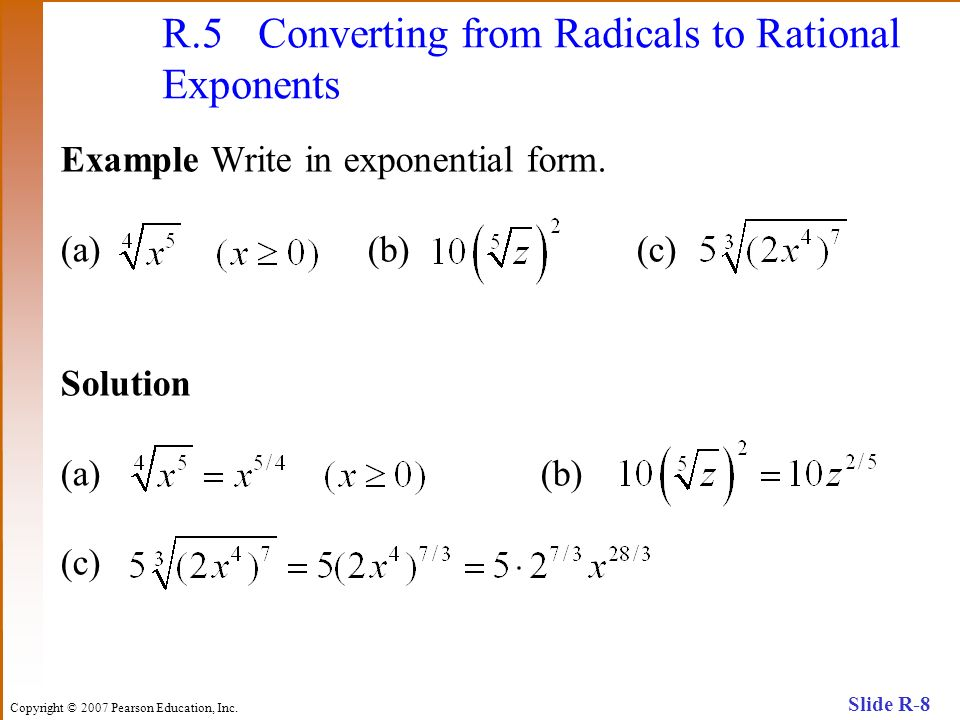R.5 Converting from Radicals to Rational Exponents