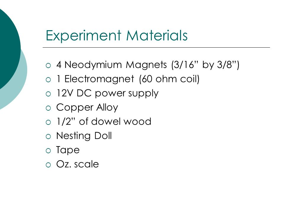 Experiment Materials 4 Neodymium Magnets (3/16 by 3/8 )
