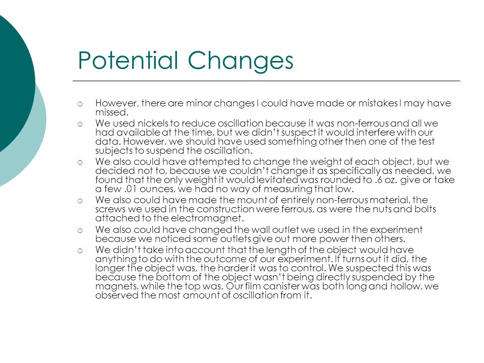 Potential Changes However, there are minor changes I could have made or mistakes I may have missed.