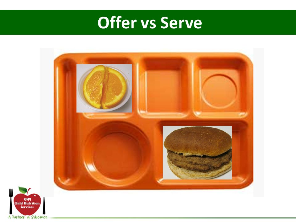 Offer vs Serve This student selects the burger and the fruit.