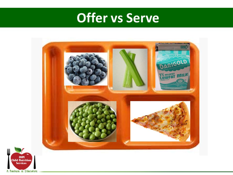 Offer vs Serve Lets take a look at another meal.
