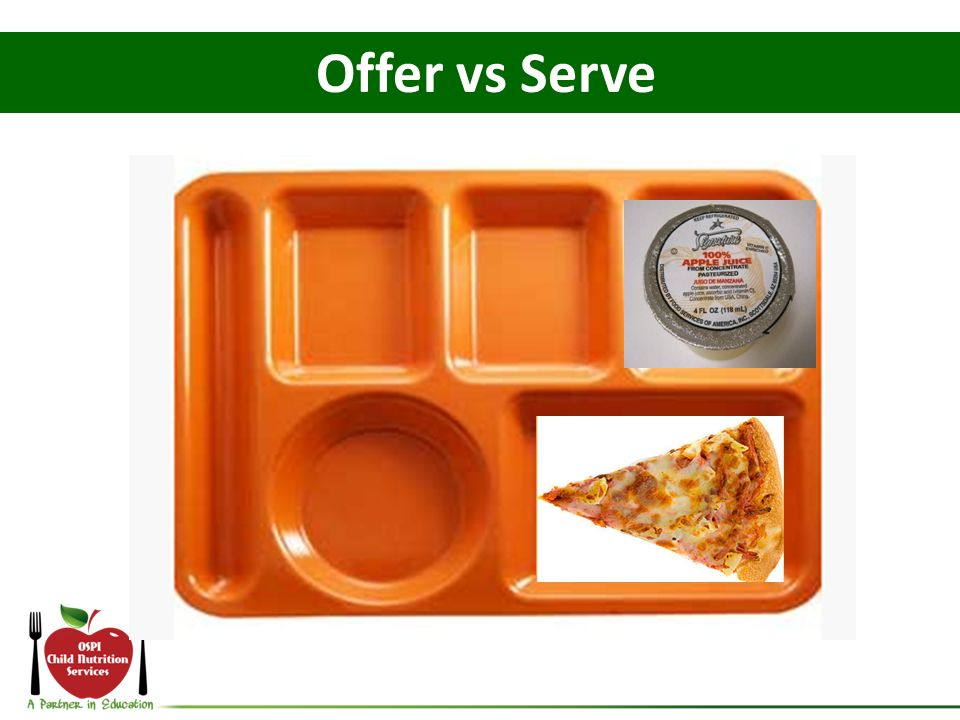Offer vs Serve And what if the student declines the peas, celery, and fruit and selects juice instead of milk