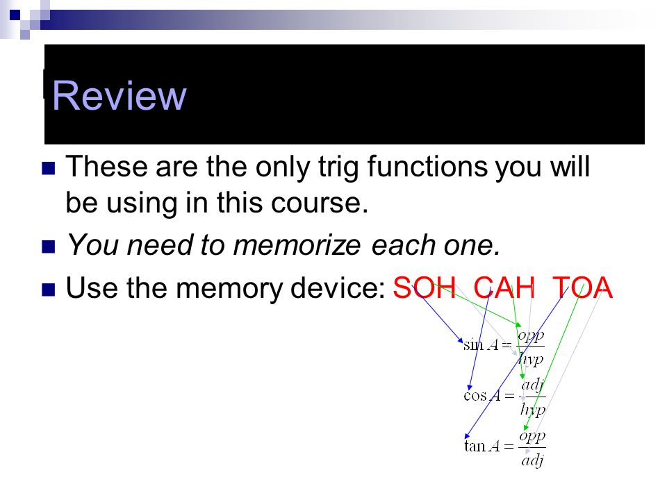 Review Review. These are the only trig functions you will be using in this course. You need to memorize each one.