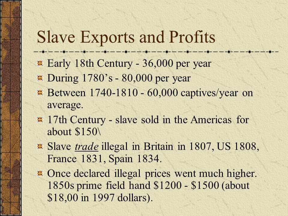 Slave Exports and Profits