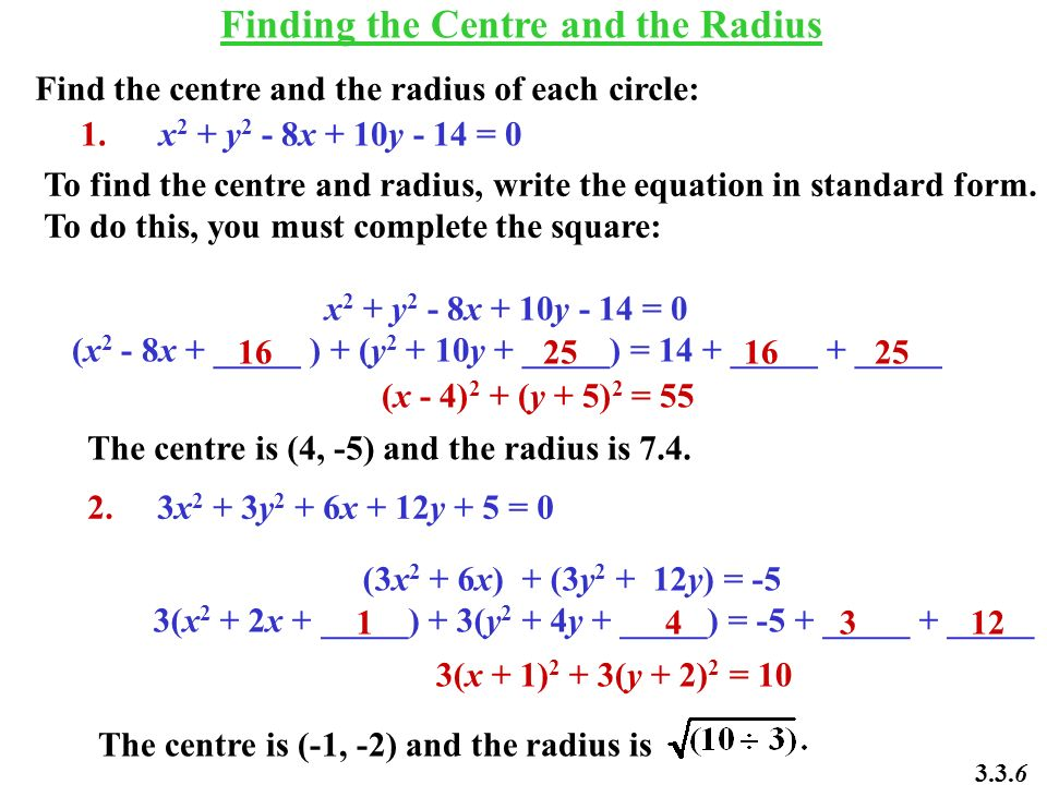 Finding the Centre and the Radius