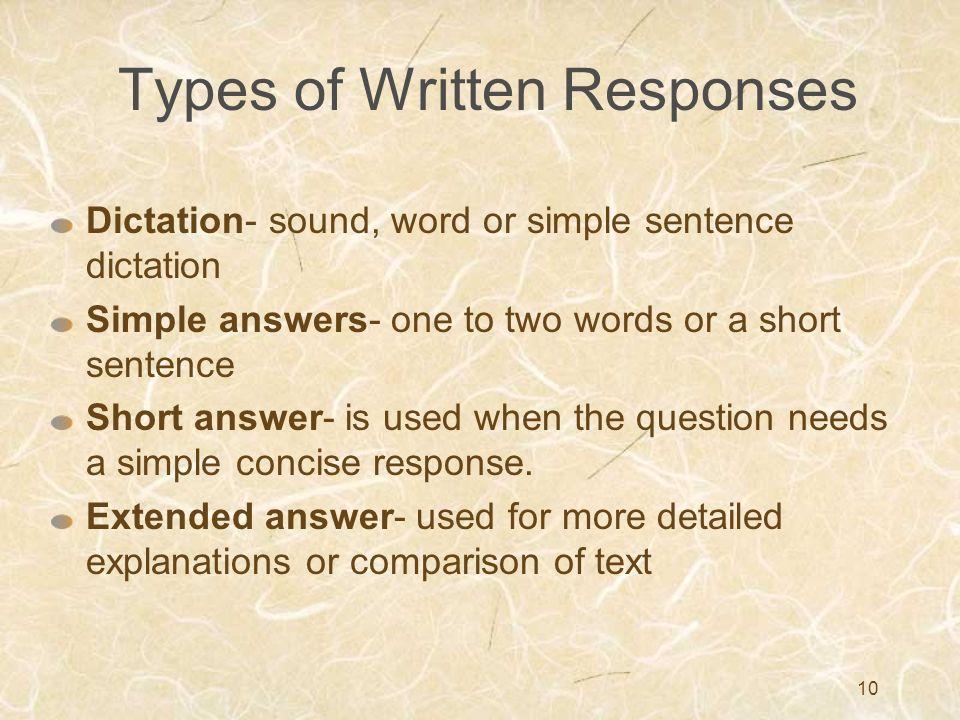 Types of Written Responses