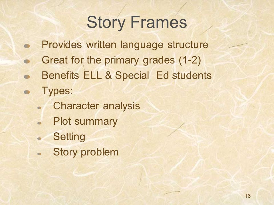 Story Frames Provides written language structure