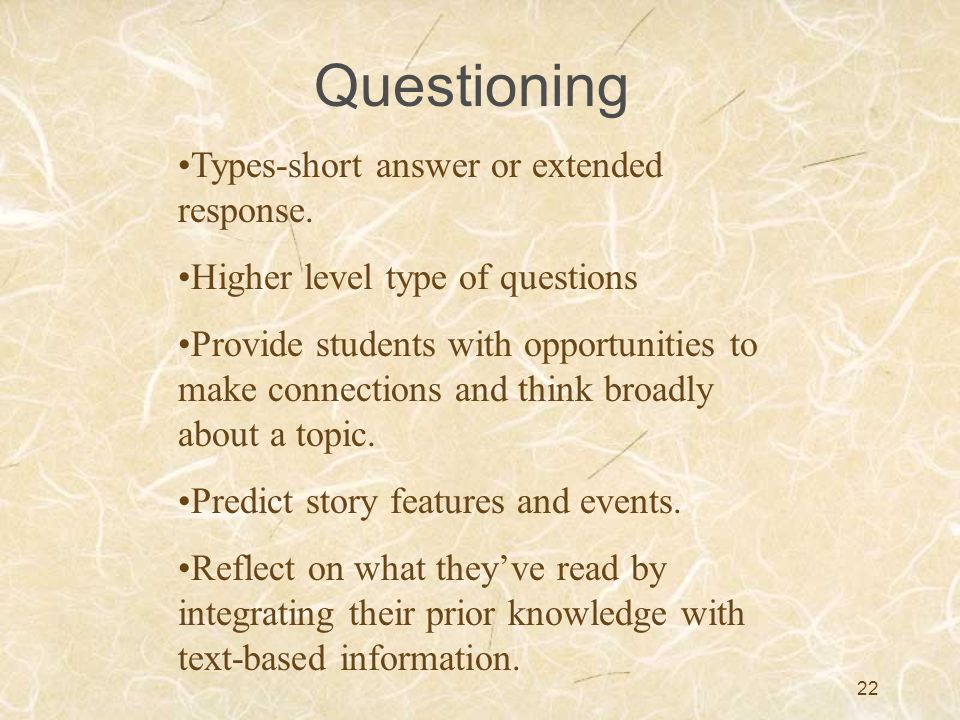 Questioning Types-short answer or extended response.
