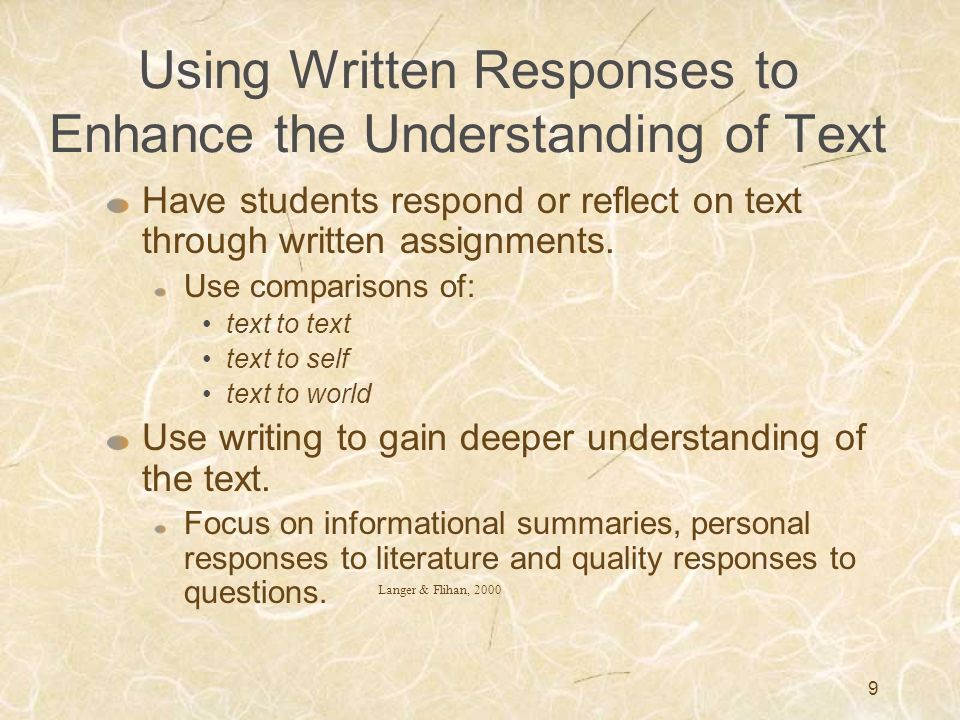 Using Written Responses to Enhance the Understanding of Text