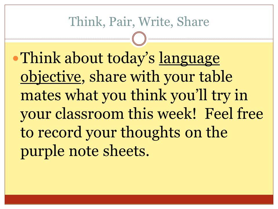 Think, Pair, Write, Share