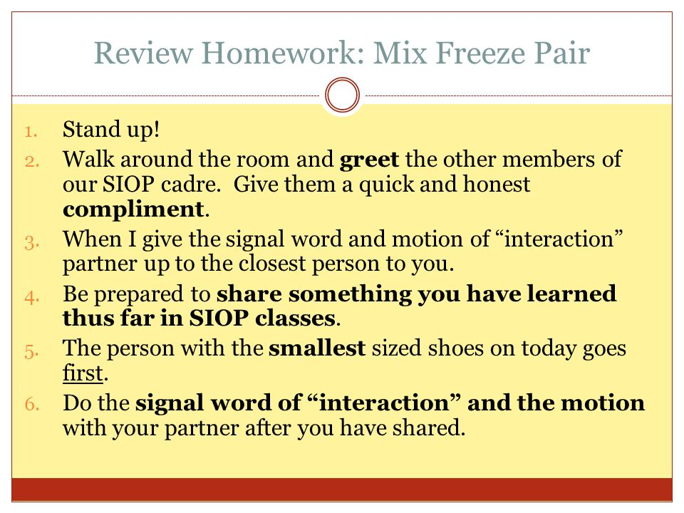 Review Homework: Mix Freeze Pair