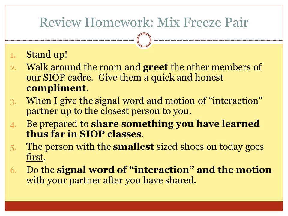 Review Homework: Mix Freeze Pair
