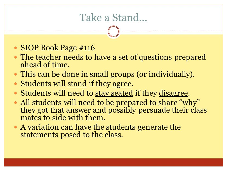 Take a Stand… SIOP Book Page #116