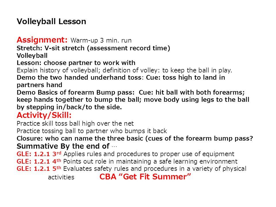 Assignment: Warm-up 3 min. run