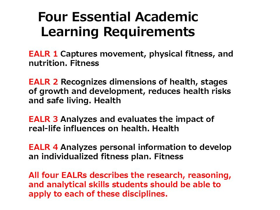 Learning Requirements