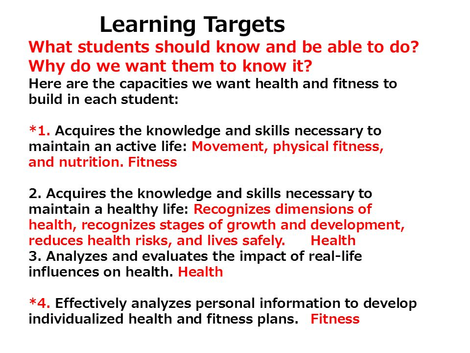 Learning Targets What students should know and be able to do Why do we want them to know it