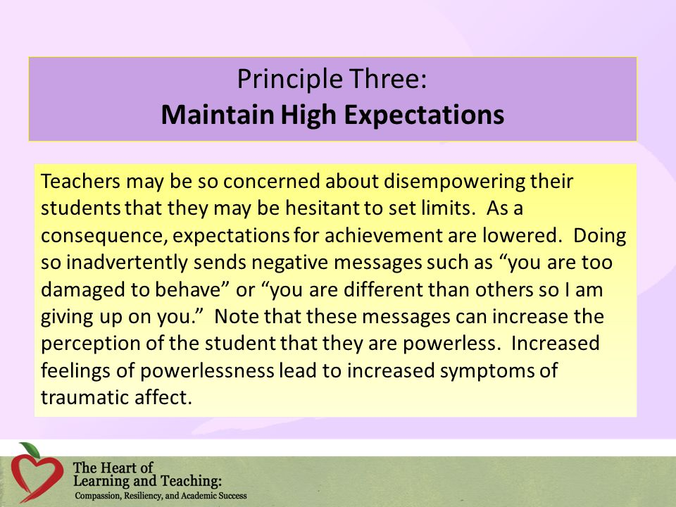 Principle Three: Maintain High Expectations