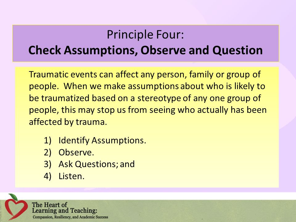 Principle Four: Check Assumptions, Observe and Question