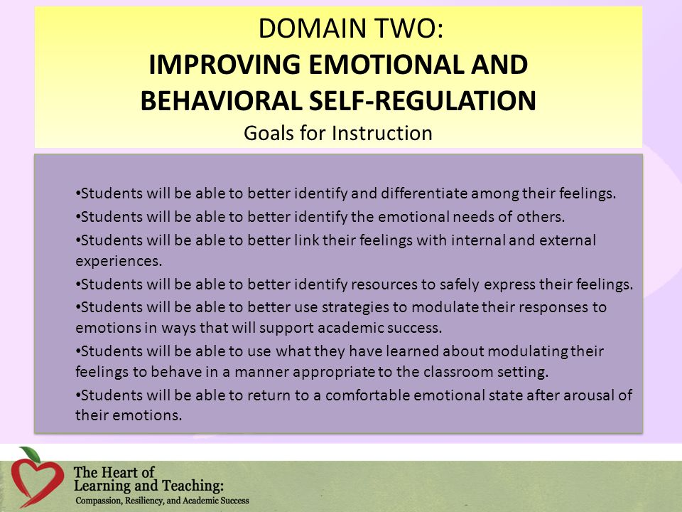 IMPROVING EMOTIONAL AND BEHAVIORAL SELF-REGULATION