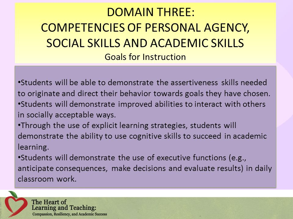 COMPETENCIES OF PERSONAL AGENCY, SOCIAL SKILLS AND ACADEMIC SKILLS