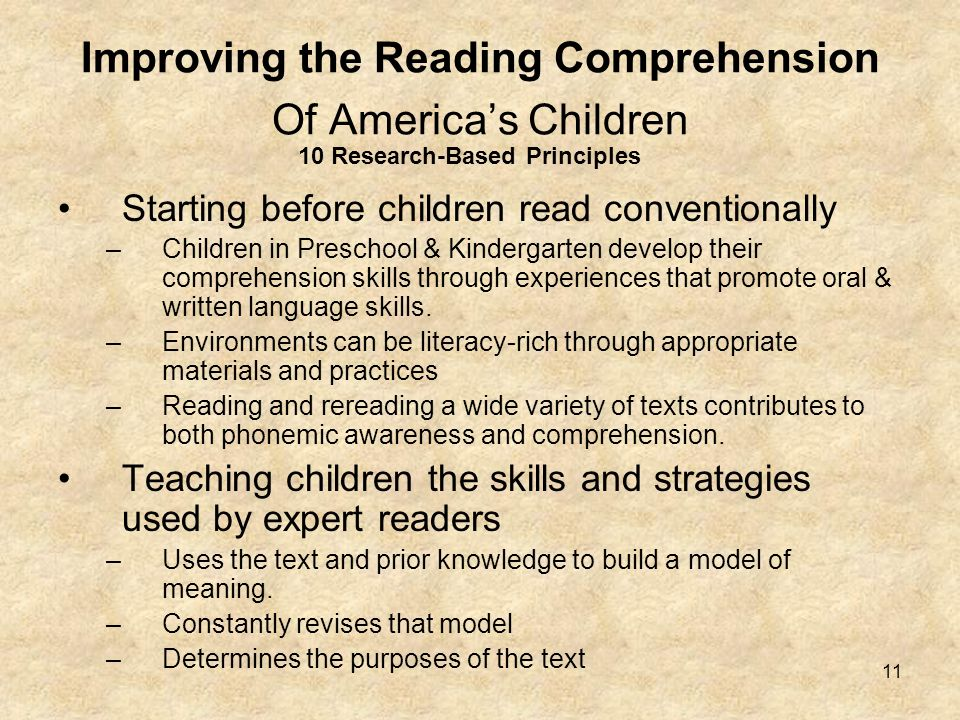 Improving the Reading Comprehension Of America's Children