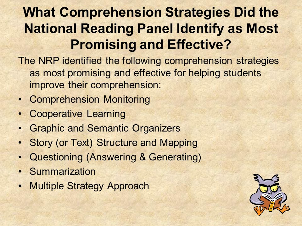 What Comprehension Strategies Did the National Reading Panel Identify as Most Promising and Effective