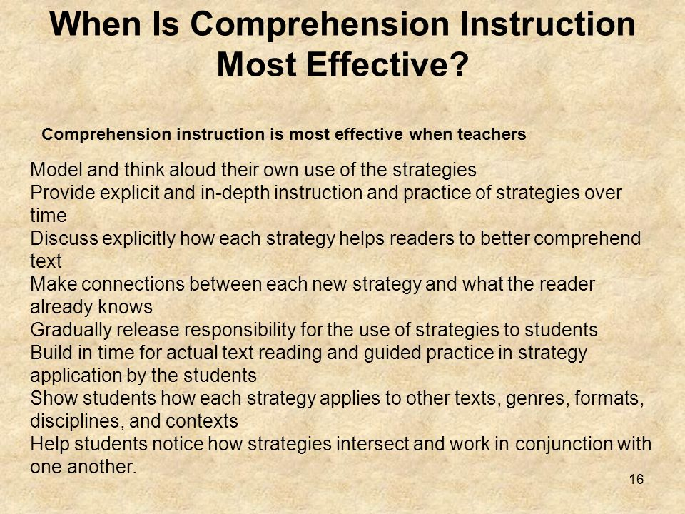 When Is Comprehension Instruction Most Effective