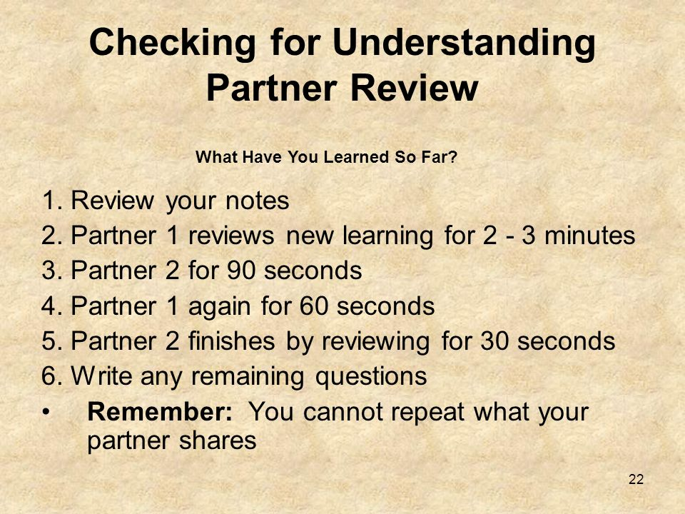 Checking for Understanding Partner Review