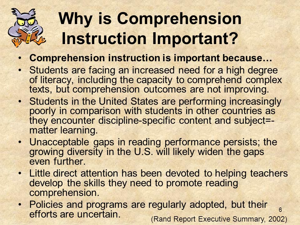 Why is Comprehension Instruction Important