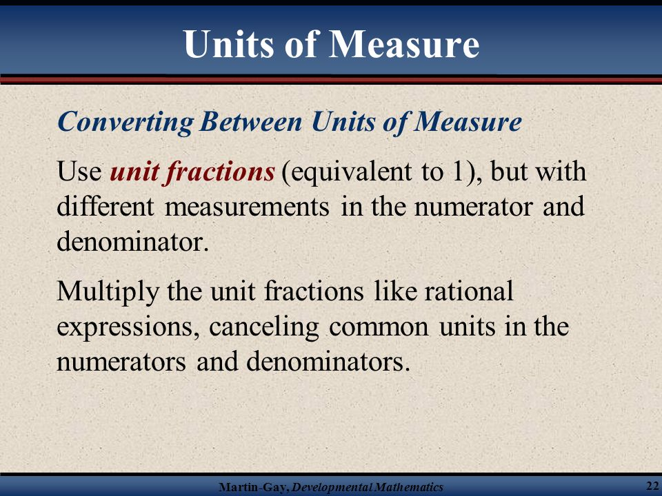 Units of Measure Converting Between Units of Measure