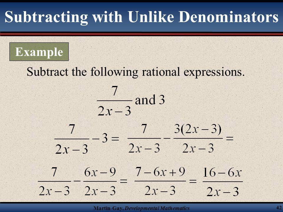 Subtracting with Unlike Denominators