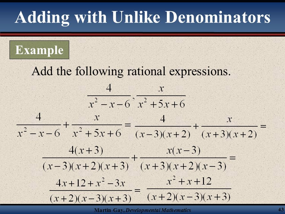 Adding with Unlike Denominators