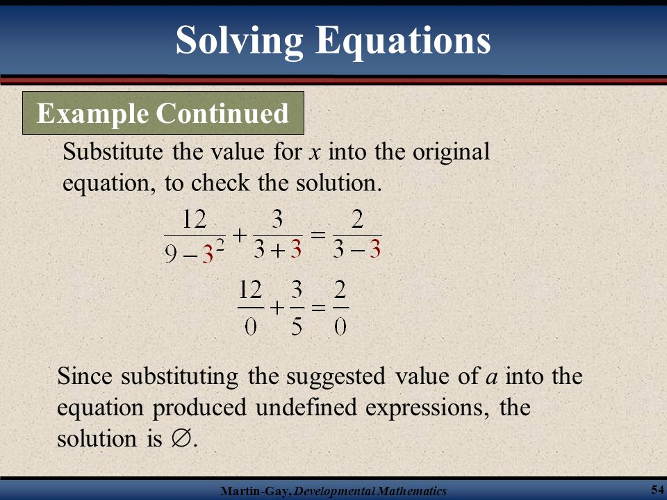 Solving Equations Example Continued