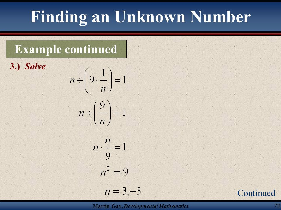 Finding an Unknown Number