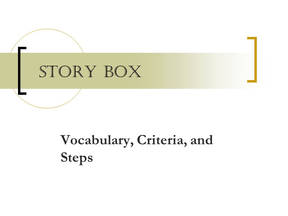 Vocabulary, Criteria, and Steps