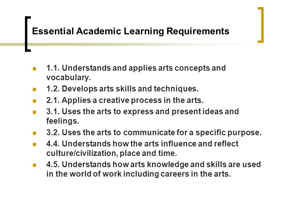 Essential Academic Learning Requirements