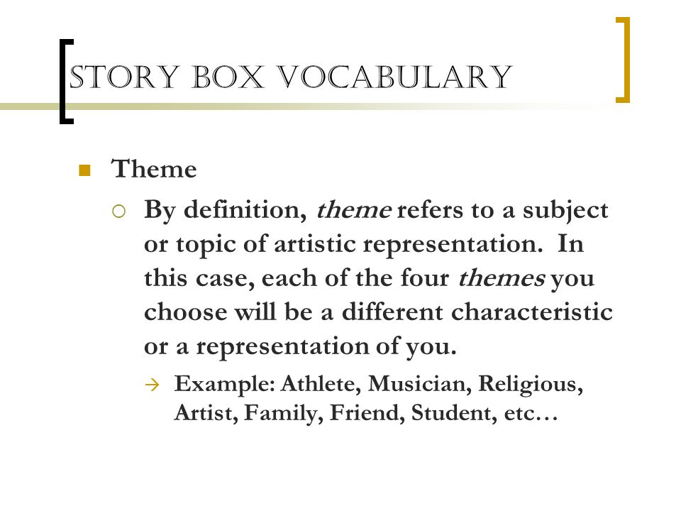 Story Box Vocabulary Theme