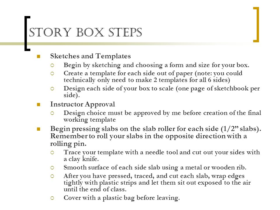 Story Box Steps Sketches and Templates Instructor Approval