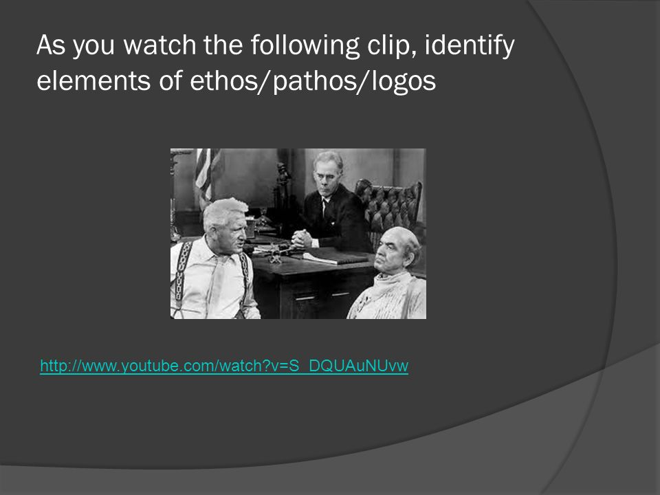As you watch the following clip, identify elements of ethos/pathos/logos