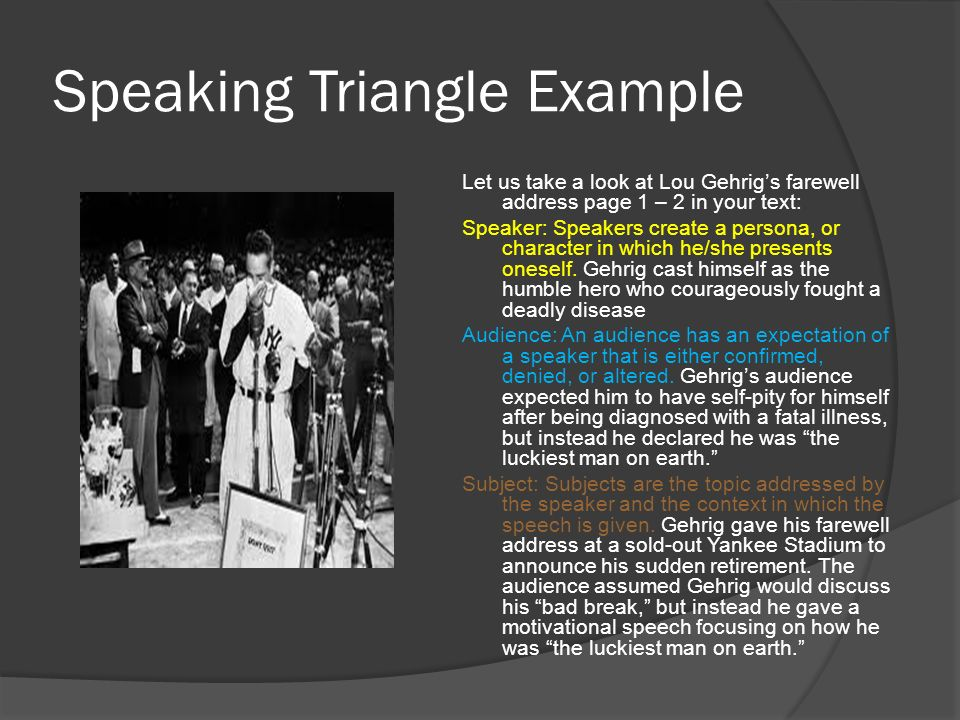 Speaking Triangle Example