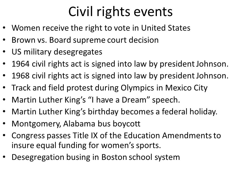 Civil rights events Women receive the right to vote in United States