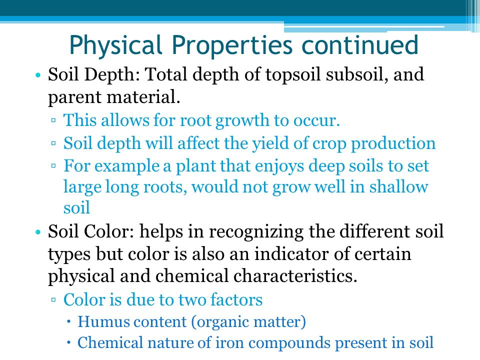 Physical Properties continued